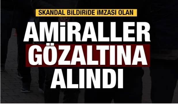 Gelen son dakika haberine göre, Ankara Cumhuriyet Başsavcılığı, 'montrö' bildirisinde imzası olan 14 emekli amiralle ilgili gözaltı kararı aldı. Başsavcılığın bildiri soruşturmasında emekli amirallerden 10'u gözaltına alınırken, 4 şüpheliye 3 gün içinde emniyete müracaat etmeleri için tebligat yapıldı. Soruşturmada amiraller 'cebir ve şiddet kullanarak anayasal düzene ortadan kaldırmak'la suçlandı