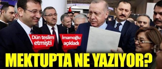 İBB Başkanı Ekrem İmamoğlu, Cumhurbaşkanı Tayyip Erdoğan'a verdiği mektubun içeriğine dair bilgiler paylaştı.