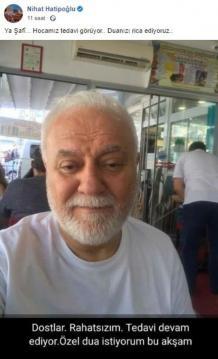 Koronavirüse yakalanan Nihat Hatipoğlu'nun sağlık durumu nasıl sorusuna oğlu Osman Hatipoğlu cevap verdi. Sosyal medya hesabından açıklama yapan Osman Hatipoğlu, 'Hocamızın durumu çok çok iyi, birkaç güne kendisi sizlerle canlı yayında buluşacak' ifadelerini kullandı.